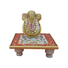Ganesha On Floral Chowki | Craft by artist Ecraft India | Marble