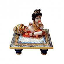 Ecraft India | Laddu Gopal On Blue Marble Chowki Craft Craft by artist Ecraft India | Indian Handicraft | ArtZolo.com