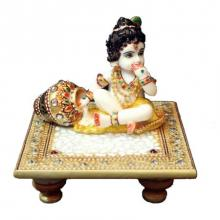 Ecraft India | Laddu Gopal On Golden Marble Chowki Craft Craft by artist Ecraft India | Indian Handicraft | ArtZolo.com