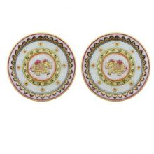 Golden Elephant Pair Plates | Craft by artist Ecraft India | Marble