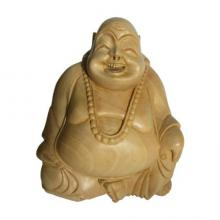 Sitting Laughing Buddha | Craft by artist Ecraft India | wood