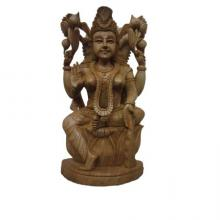 Goddess Lakshmi Sitting With Kala | Craft by artist Ecraft India | wood