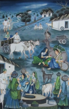 Traditional Indian art title Day Time Village Scene on Silk - Miniature Paintings