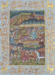 Traditional Indian art title Regional Courts In Mughal India on Silk - Mughal Paintings