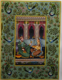 Traditional Indian art title Royal Couple on Silk - Mughal Paintings