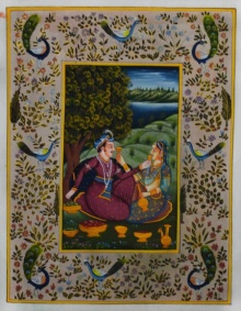Traditional Indian art title Royal Couple In Lawn on Silk - Mughal Paintings