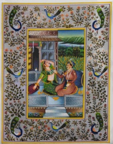 Unknown | Mughal Traditional art title Royal Couple Romancing on Silk | Artist Unknown Gallery | ArtZolo.com