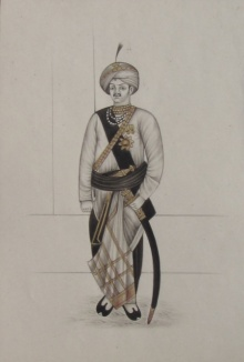 Unknown | Mughal Traditional art title A Rajput King With Sword on Paper | Artist Unknown Gallery | ArtZolo.com
