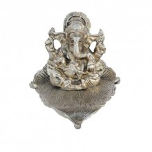 Silver Lord Ganesha Statue on Leaf | Craft by artist E Craft | Metal