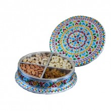 Meenakari Dry Fruit Container | Craft by artist E Craft | Metal