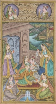 Unknown | Mughal Traditional art title Attractive Mughal Love Scene on Paper | Artist Unknown Gallery | ArtZolo.com