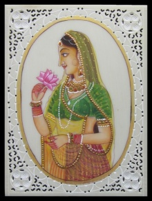 Traditional Indian art title Awaiting Lady ragini on Plastic Sheet - Mughal Paintings