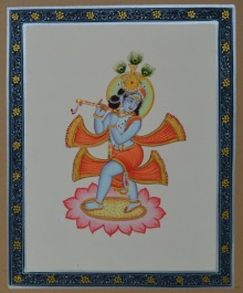 Traditional Indian art title Bal Krishna Playing Flute on Paper - Miniature Paintings