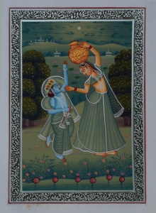 Traditional Indian art title Bal Krishna Teasing Gopi For Makhan on Silk - Miniature Paintings