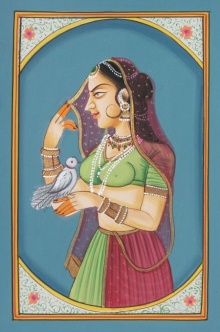 Unknown | Miniature Traditional art title Bani Thani With Bird on Paper | Artist Unknown Gallery | ArtZolo.com