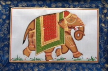 Traditional Indian art title Elephant 2 on Silk - Miniature Paintings