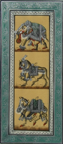 E Craft | Mughal Traditional art title Elephant Horse And Camel on Silk | Artist E Craft Gallery | ArtZolo.com