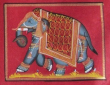 Traditional Indian art title Elephant With Trunk Down on Silk - Miniature Paintings