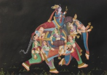 Traditional Indian art title Emperor With Women on Silk - Mughal Paintings
