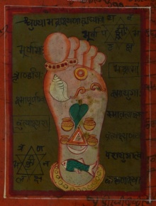 Traditional Indian art title Holi Footprint Of Indian Lord on Paper - Miniature Paintings