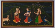 Traditional Indian art title Indian Women Playing Music In Lawn on Silk - Miniature Paintings