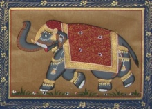 Traditional Indian art title Jumbo Elephant on Silk - Miniature Paintings