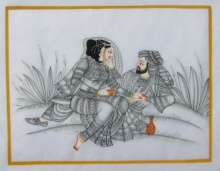 Traditional Indian art title King And Queen on Silk - Mughal Paintings