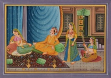 Traditional Indian art title King And Queen Light Moments on Silk - Mughal Paintings