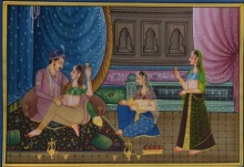 Traditional Indian art title King And Queen Moments on Silk - Mughal Paintings