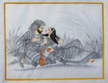 Traditional Indian art title King And Queen Romantic Moment on Silk - Mughal Paintings