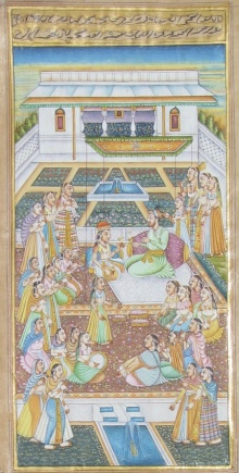 Traditional Indian art title King And Queen Romatic Moments on Paper - Mughal Paintings