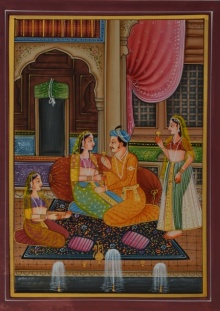 Traditional Indian art title King And Queen With Sevika on Silk - Mughal Paintings