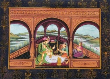 Traditional Indian art title King And Queens on Silk - Miniature Paintings