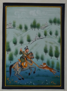Traditional Indian art title King Hunting Tiger on Silk - Mughal Paintings