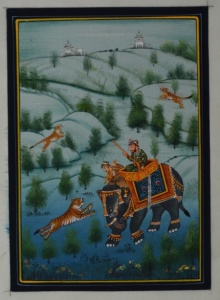 Traditional Indian art title King On A Hunt on Silk - Mughal Paintings