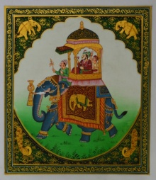 Unknown | Mughal Traditional art title King On Elephant on Silk | Artist Unknown Gallery | ArtZolo.com
