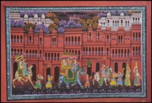 Traditional Indian art title King Procession Through Town 2 on Silk - Mughal Paintings