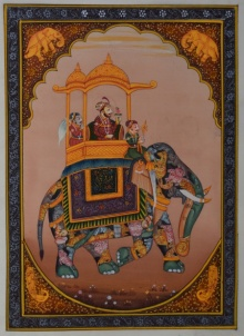 Traditional Indian art title King Riding Elephant on Silk - Mughal Paintings