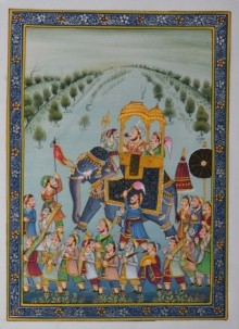 Traditional Indian art title King Riding Royal Elephant In A Processi on Silk - Mughal Paintings