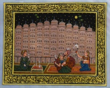 Traditional Indian art title King Spending Leisure Time on Silk - Mughal Paintings