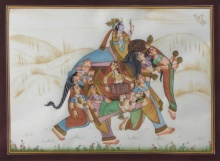 E Craft | Mughal Traditional art title King Surrounded By Women on Silk | Artist E Craft Gallery | ArtZolo.com