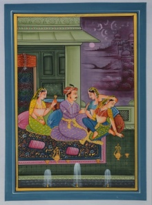 Unknown | Mughal Traditional art title King Surrounded With Queens In Palace on Silk | Artist Unknown Gallery | ArtZolo.com