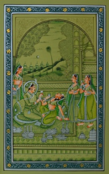 Traditional Indian art title King Treated By Sevikas on Paper - Mughal Paintings