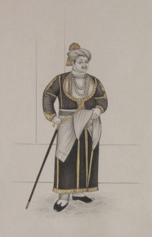 Unknown | Mughal Traditional art title King With His Stick on Paper | Artist Unknown Gallery | ArtZolo.com