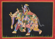 Traditional Indian art title King With His Women 1 on Silk - Mughal Paintings