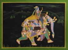 Traditional Indian art title King With His Women 2 on Silk - Mughal Paintings