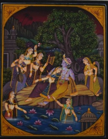 Traditional Indian art title Krishna And Radha Sharing Peaceful Momen on Silk - Miniature Paintings