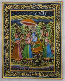 Traditional Indian art title Krishna Convincing Radha on Silk - Miniature Paintings