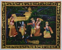 Traditional Indian art title Krishna Eating Makhan on Silk - Miniature Paintings