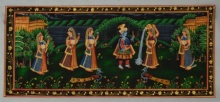 Traditional Indian art title Krishna Eating Makhan With Gopis on Silk - Miniature Paintings